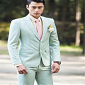 skinny suit Men's dress light green groom married male suit men's clothing han edition cultivate one's morality