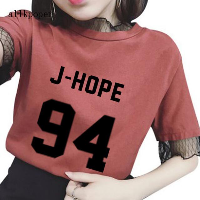 Harajuku BTS KPOP Mesh Patchwork T-Shirt