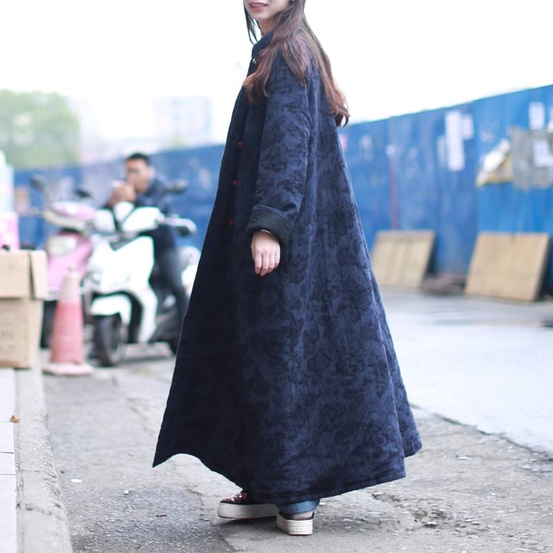 Col Px7042 Dark Matelassé Blue wine Chinois D'hiver Red Jacquard 2018 Manteau Lzjn Pardessus Poche Veste Parka Stand Longue Winterjas Femmes Automne XBqXwaT