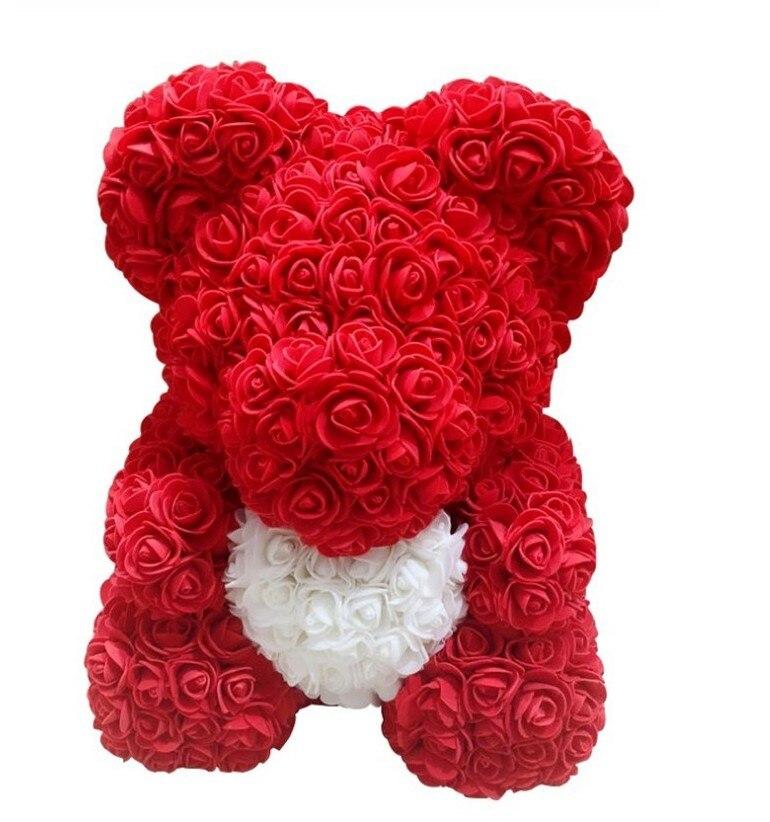Valentines Gift 40cm Romantic Artificial Rose Teddy Bear for Wedding Girlfriend Anniversary Creative DIY Present