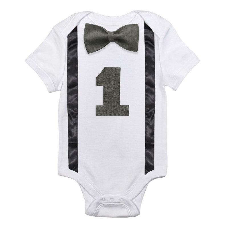 Body dla niemowląt 1st urodziny stroje małych chłopców pończoch krawat łuk kombinezony maluch chłopiec jeden kawałek odzież dla niemowląt ubrania letnie