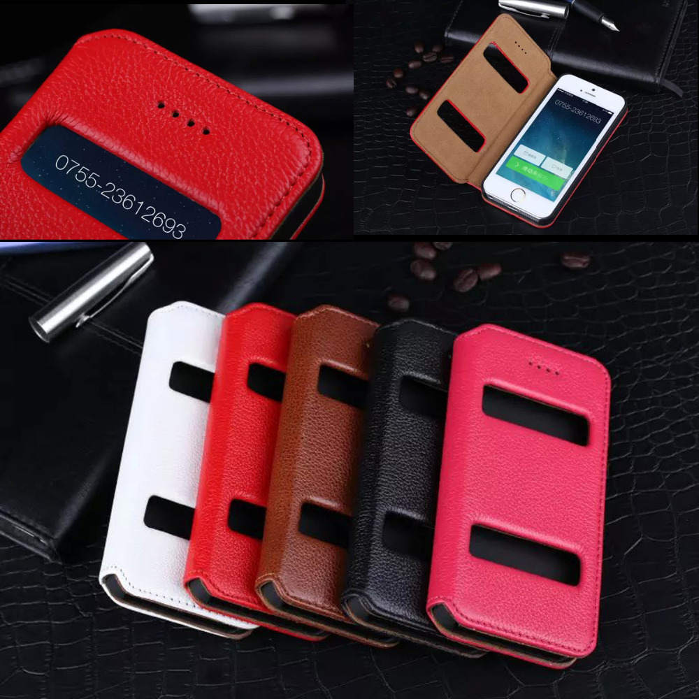 Coque Case For IPhone 5 5s Deluxe Litchi Genuine Leather Case Flip Smart View Window For