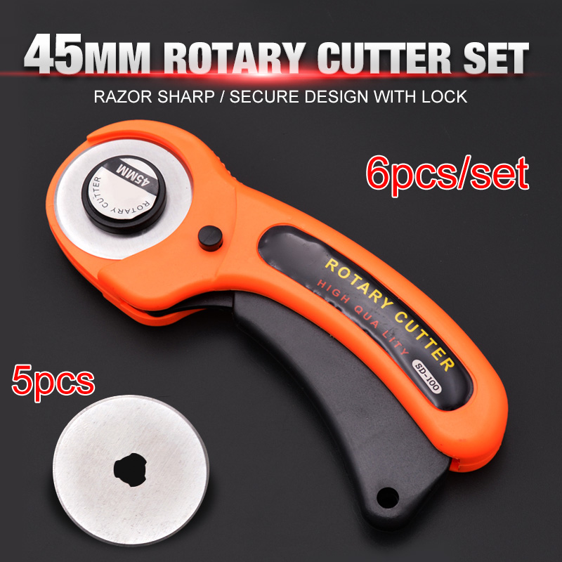 6pcs/set 45mm Rotary Cutter Set Handle Roller Knife 5pcs Blades For Patchwork Leather Craft Sewing Tool