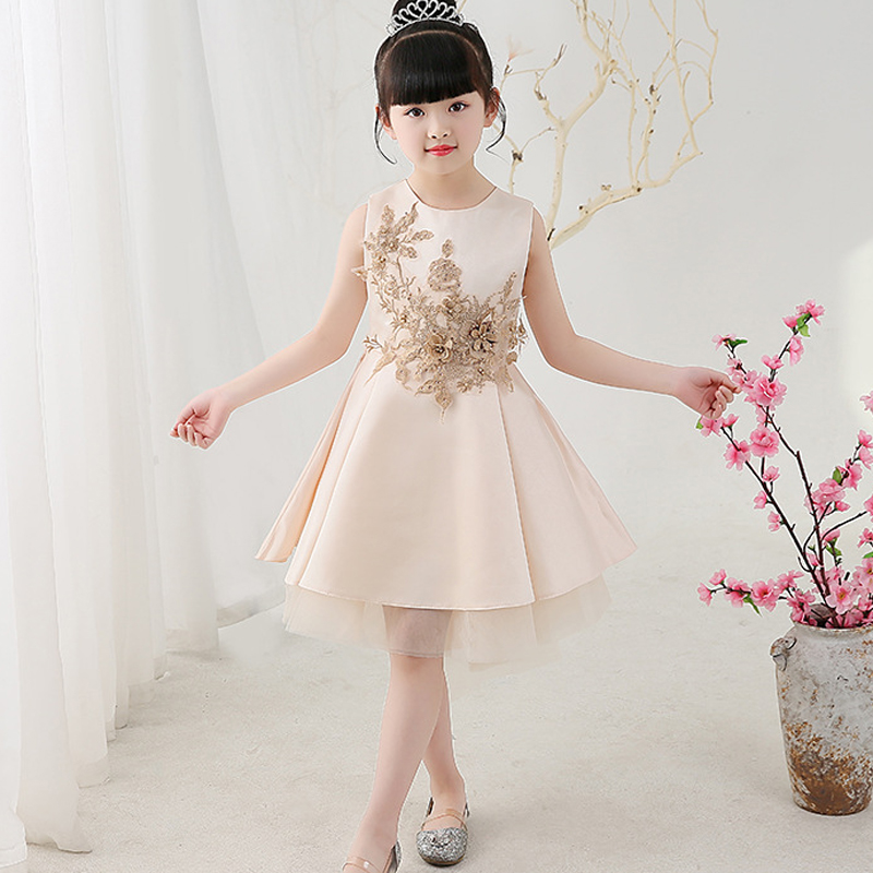 U-SWEAR 2019 New Arrival Kid   Flower     Girl     Dresses   O-neck Sleeveless   Flower   Appliqued High Low Pageant   Dresses   For   Girls