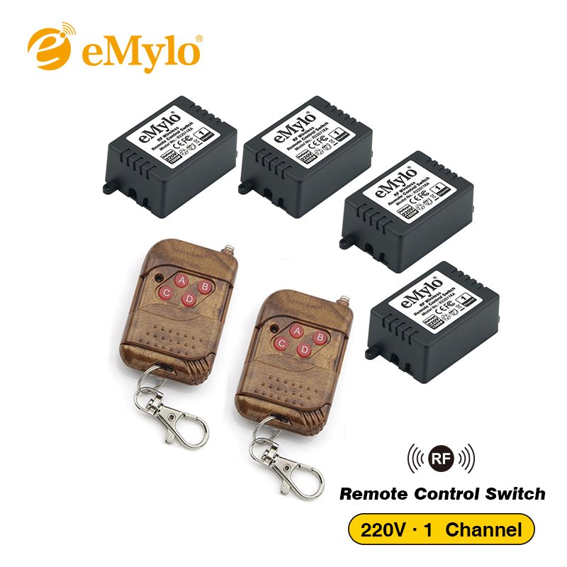 eMylo RF Switch AC 220V 1000W-230V-240V 4-button Transmitter & 4X 1 Channel Relays Wireless Remote Control Light Switch 433Mhz project [foce] singleseason куртка