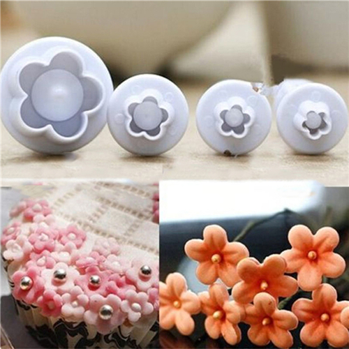 Beauty Health Plum Blossom Spring Die Sugar Cakes Baked Plastic Utensils Modeling Tools, Kitchen Gadgets 4 PCS Safety