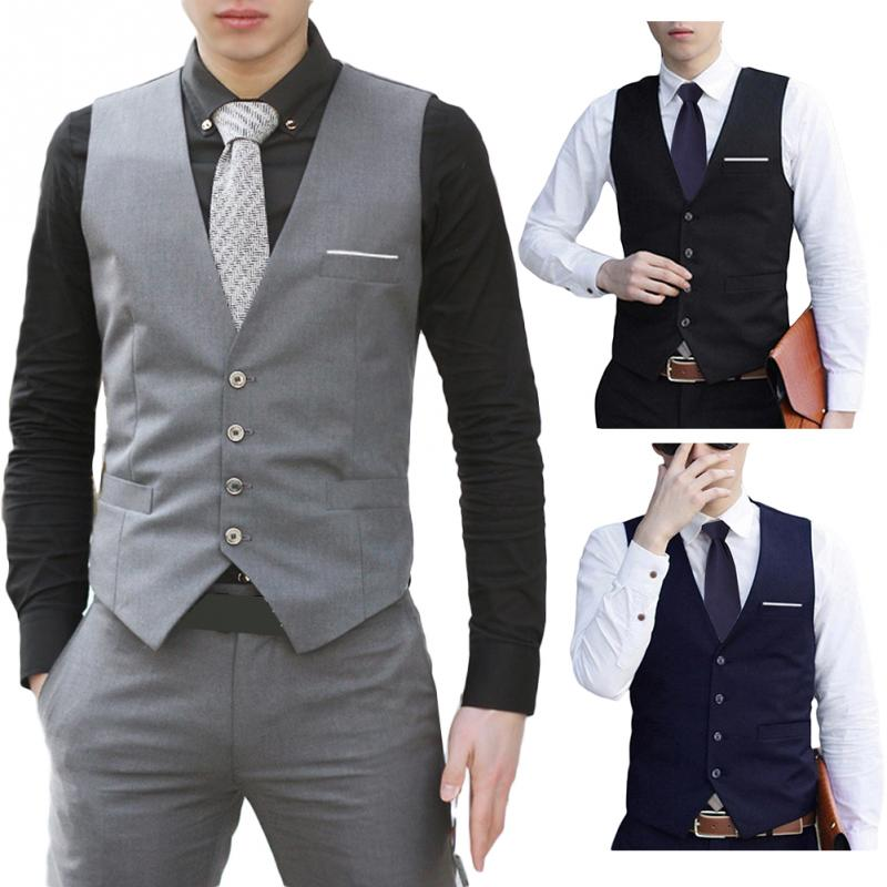 High Quality Men's Fashion Formal Business Daily Wear Waistcoat Vest Suit Slim Fit Tuxedo Casual  V Neck Coat Gilet