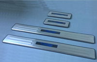 Stainless Steel LED Blue light Welcome pedal Door Sill Cover Scuff Plate Trim For Chevrolet AVEO 2011 2012 2013