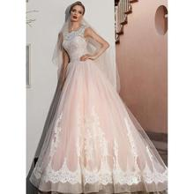 New Arrival Pink Princess Wedding Dress Lace Up Back Exquisite Applique Custom Made Country Garden Floor Length Bridal Gown