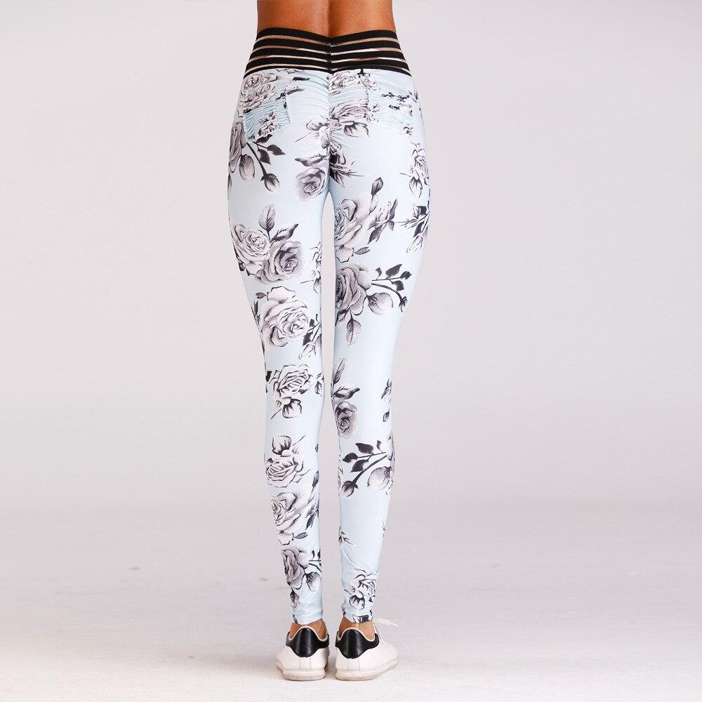 Women Yoga Pants Sport Legging Flower 3D Print Slim Running Capris High Waist Fold Hip Trouser Skinny Workout Sexy Bind Jeggings in Yoga Pants from Sports Entertainment