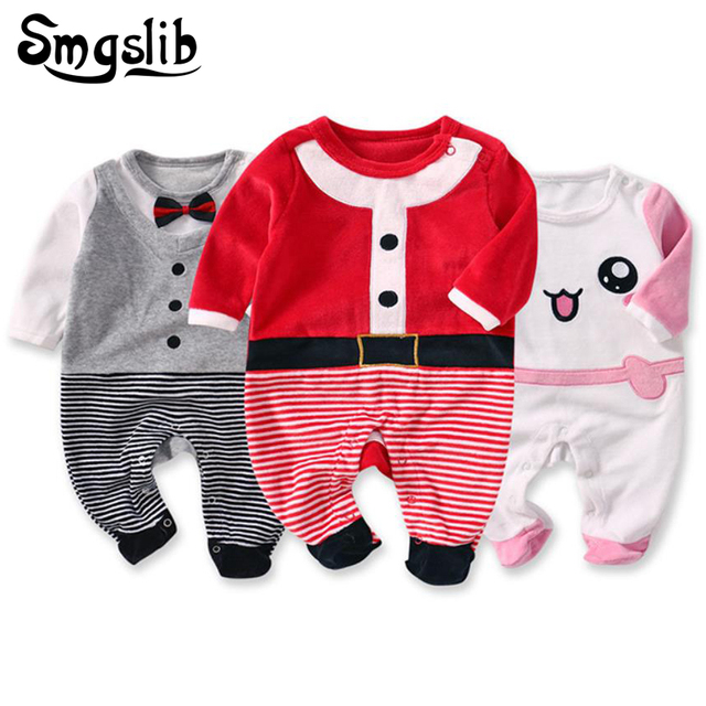 0a098cc4e Baby christmas flannel plush jumpsuit outfits fleece baby pajamas ...