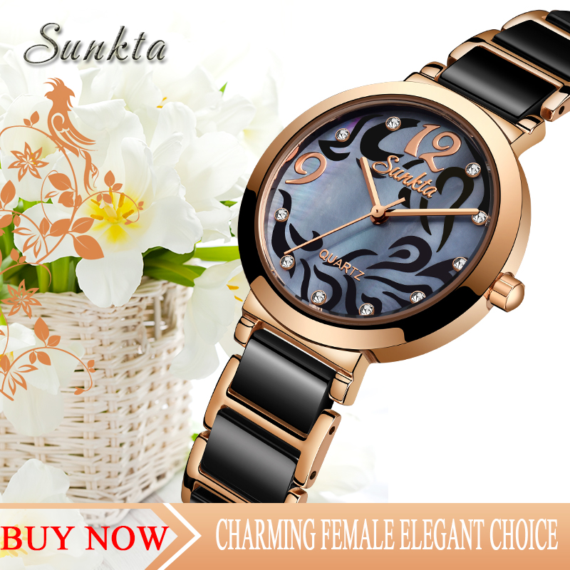 SUNKTA Diamond Quartz Women Watches Top Luxury Brand Simple Casual Waterproof Watches Women Girl Ceramic Clock Relogio Feminino