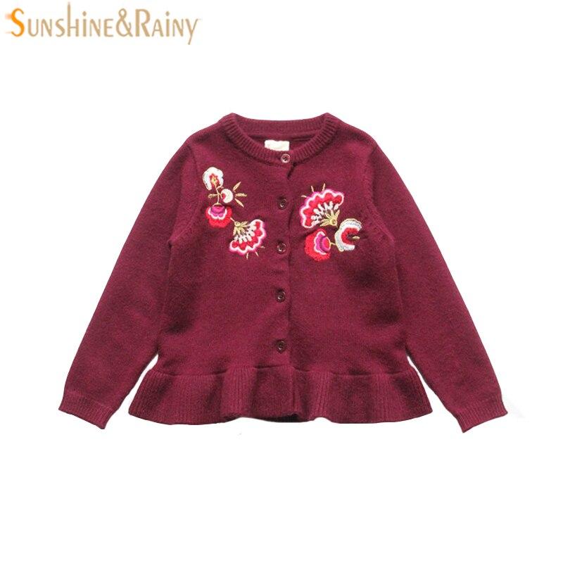 Бренд Обувь для девочек Кардиганы для женщин Вышивка детские вязаные пальто с оборками верхняя одежда с длинными рукавами для детей Куртки ...