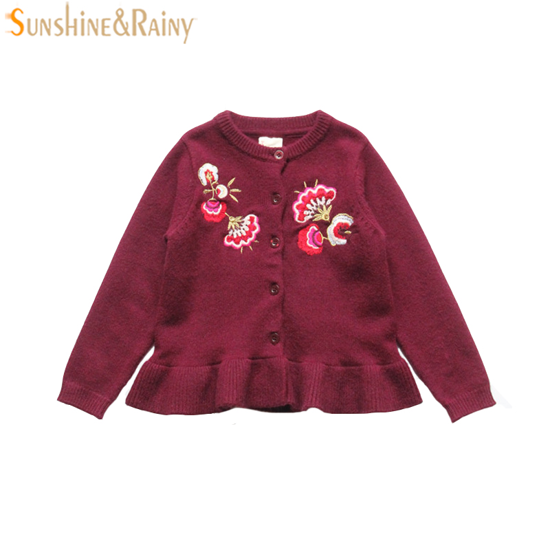 Brand Girls Cardigans Embroidery Kids Knitted Coat With Ruffle Long Sleeve Children Outerwear Jackets For Girl Sweaters