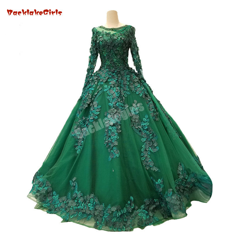 Empire Ball Gown Wedding Dresses: 2018 Green Tulle Long Sleeves Scoop Neck Evening Dress