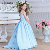 Light Blue A Line Satin Princess Pageant Gown Flower Girl Dress Kids Party Birthday Prom Dress Children Gown with Bows