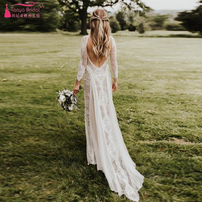 Classic Unique Combination Lace Wedding Dresses Bohemian