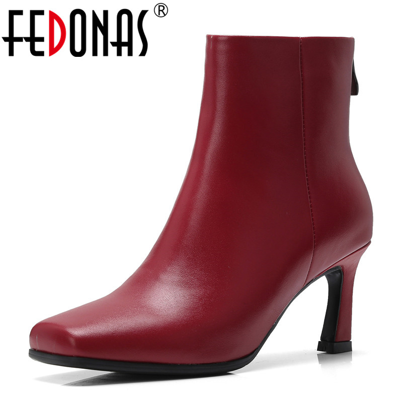 FEDONAS New Arrival Women Ankle Boots Genuine Leather Autumn Winter Warm High Heels Shoes Woman Square Toe Casual Quality Shoes