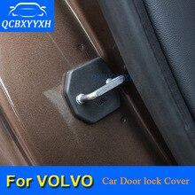 4PCSCar дверные замки Защитная крышка для Volvo S40 XC60 C30 S80 XC90 S90 V40 V60 S60 2012- автомобиля отделка дверного замка авто Крышка