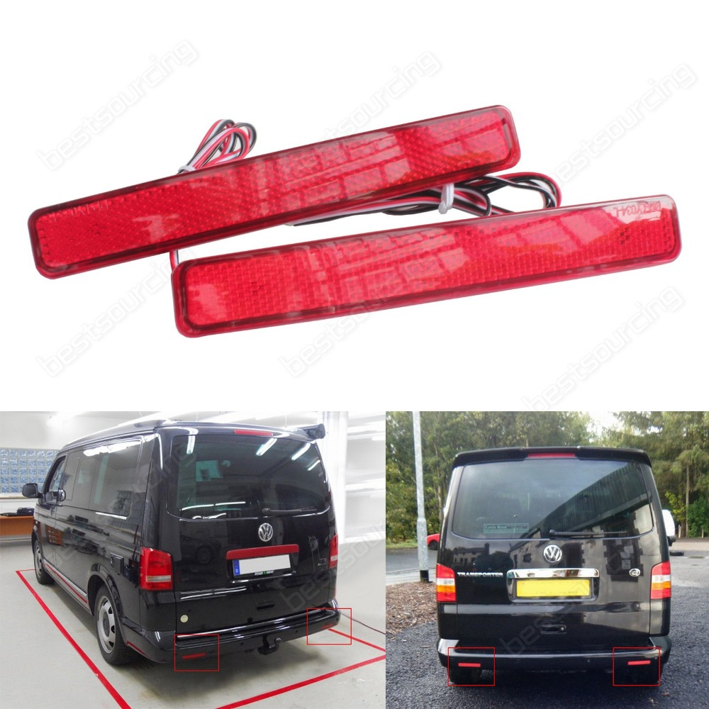 2 VW T5 Transporter / Caravelle / Multivan 2003-11 Multivan Red Rear Bumper Reflector LED Tail Stop Light(CA243)