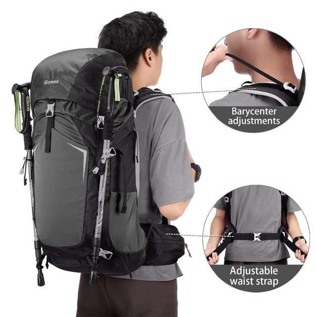Gonex 55L Man Hiking Backpack Travel Outdoor Climbing Camping  Mountaineering Trekking Bag with Waterproof Rain Cover YKK Zippers 539ffe7220399