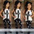 Kids clothes Summer Baby Kids Girl LOVE T-shirt Outfits Tops + Pants 2 pcs Set Clothes 5p/l