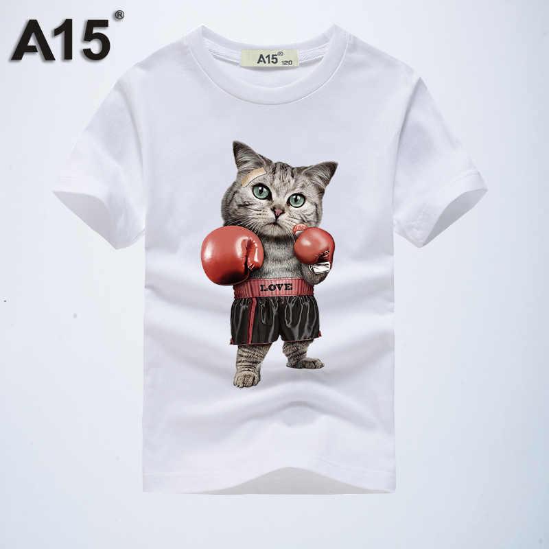 Футболка для мальчиков, Детская Хлопковая футболка с короткими рукавами, Детская футболка, Забавные футболки с рисунком кота, 3D подростковые футболки, одежда для девочек 12-14 лет