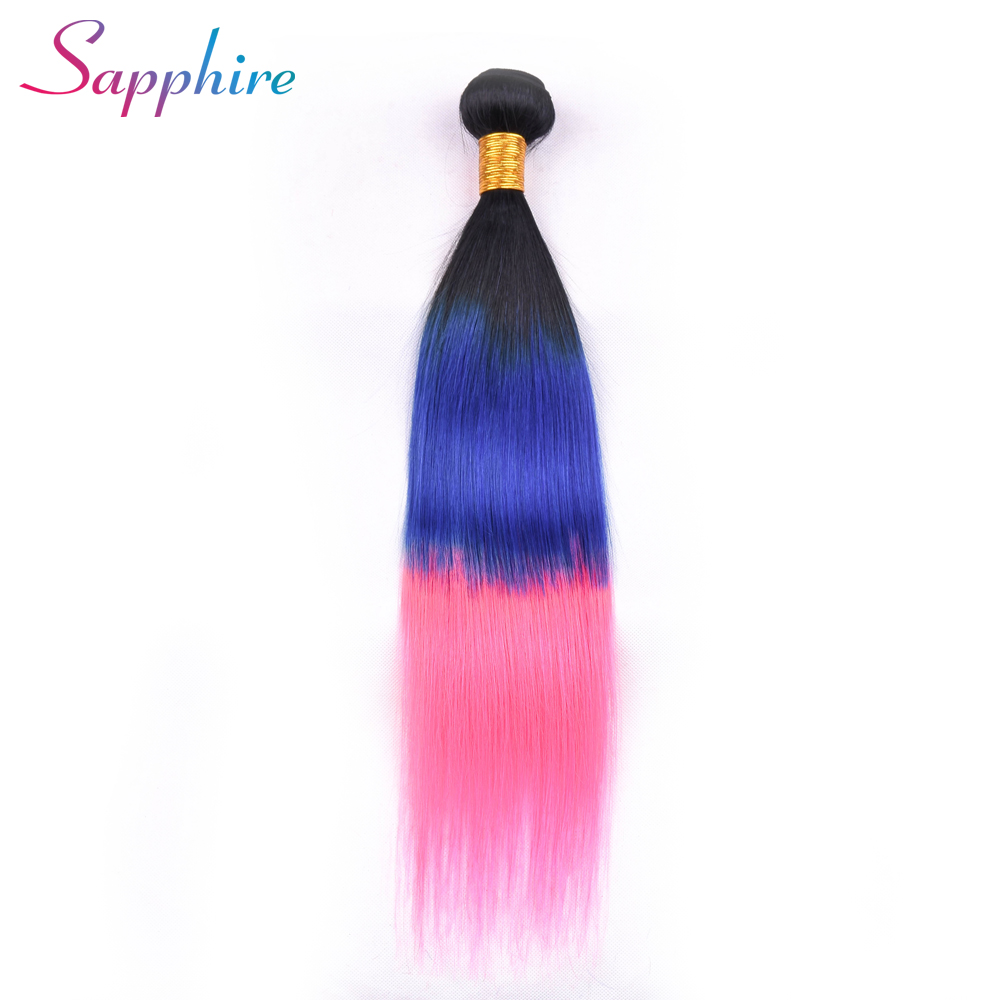Sapphire Hair Brazilian Straight Human Hair 1 Piece Hair Weave Bundles Ombre Color TB/Blue/Pink Remy Hair Free Shipping