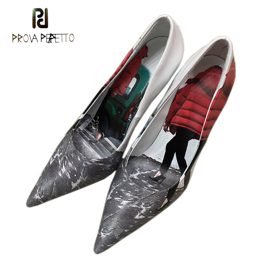 Prova Perfetto 2018 new fashion pointed toe stiletto heel party shoes feather dress print genuine leather shallow women pumps все цены