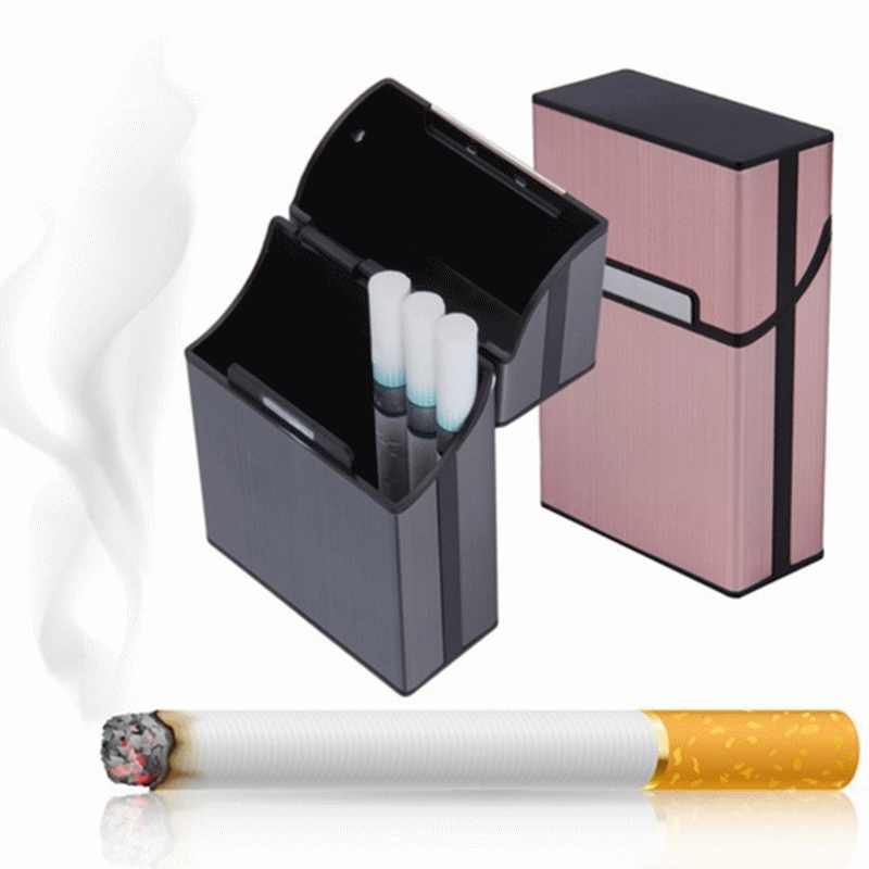 1pc Aluminum Metal 20 Cigarette Case Lighters Best Friend Magnetic buckle Tobacco Box YL880991