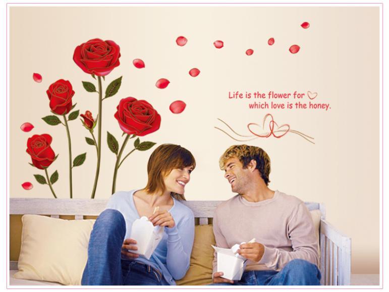 Bedroom Wall Decor Romantic online buy wholesale rose wall decor from china rose wall decor