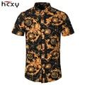HCXY 2016 Оптовая Лето Повседневный Slim Fit Цветочные Рубашки Мужчины Хлопок Мужчины С Коротким Рукавом Рубашки Slim Fit Мужчин в Гавайских Рубашках