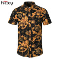 HCXY 2016 Wholesale Summer Casual Slim Fit Floral Shirts Men Cotton Men Short Sleeve Shirt Slim Fit Men Hawaiian Shirts