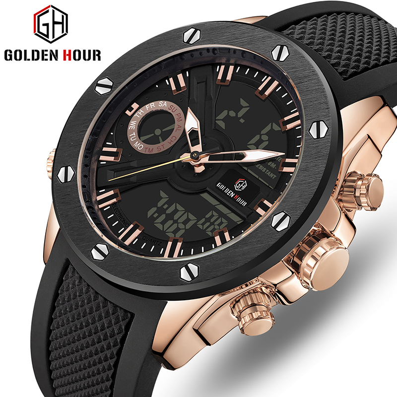 Men Watch Luxury Brand OLDENHOUR Fashion Analog Digital Sports Mens Watches Waterproof Silicone Quartz Watch Relogio Masculino