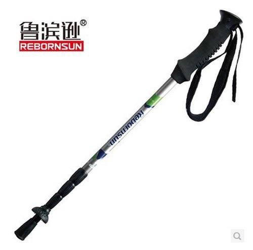 ФОТО Rebornsun Carbon Fiber Hiking Pole 4 Sections Flexible Camping Sticks Ultralight EVA Handle Outdoor Mountaineer Stick
