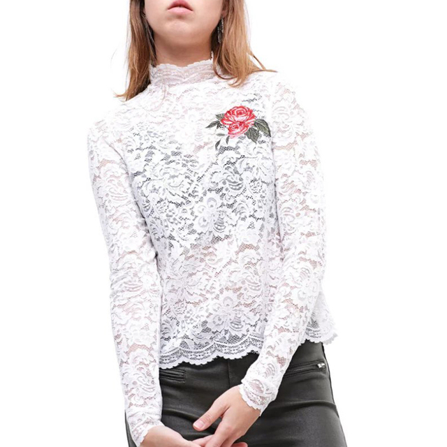 Women sexy lace white flower embroidery blouse fashion turtleneck women sexy lace white flower embroidery blouse fashion turtleneck long sleeve sweet micro transparent shirts mightylinksfo