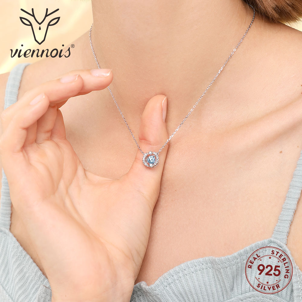 Viennois 925 Sterling Silver Chain Necklace Movement Round Circle Paved Rhinestones Pendant Crystal for Women Jewelry 2019