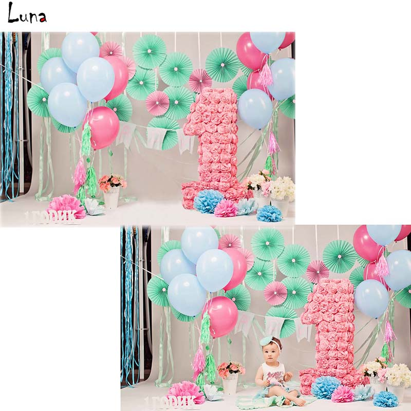 Pink Balloon Vinyl Photography Background Backdrop For Newborn Birthday Party Oxford Backdrop For Children photo studio 2751