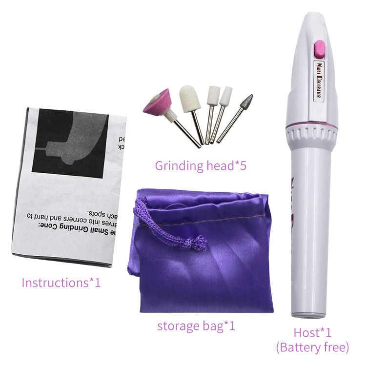 Mini perceuse pour Nail Art 5 en 1, perceuses électriques pour ongles, stylo, pièces à main, manucure, Gel de polissage, lime, tampon, outils d'art