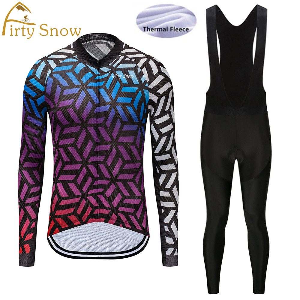 Firty Snow Cycling jersey bike pant set winter thermal fleece long bike clothing MTB Ropa Ciclismo bicycling maillot Culotte
