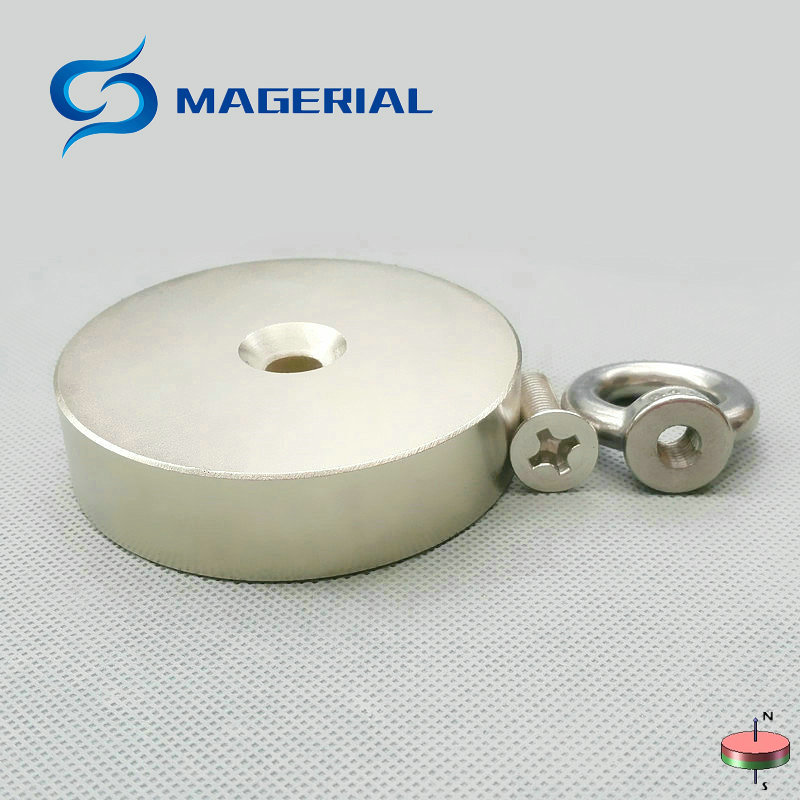 "NdFeB Lifting Magnet Disc Dia. 80x20 mm 3"" Round with Matching Screw Countersunk Hole N52 Neodymium Rare Earth Permanent Magnet"