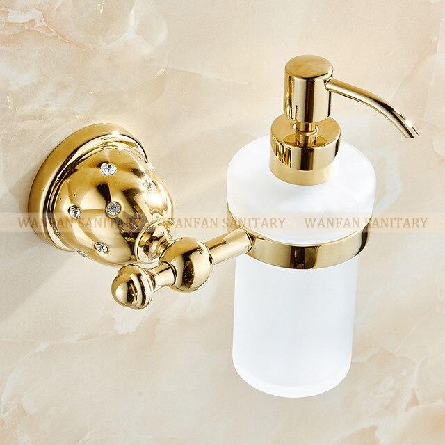 porte savon liquide mural dore distributeurs de savon de luxe mural porte savon avec verre givre or conteneur bouteille produits de salle de bains