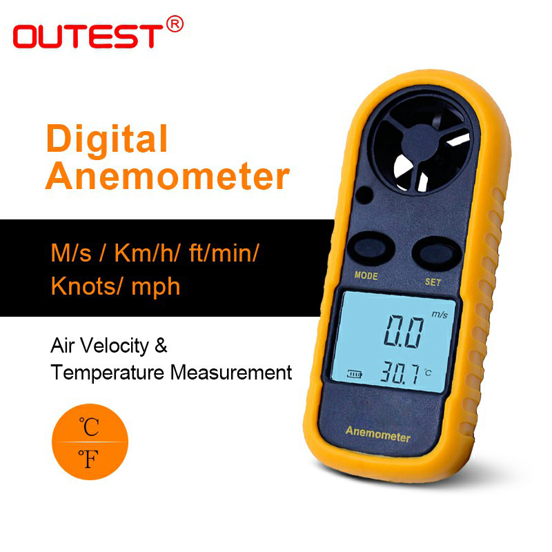 OUTEST Anemometer Anemometro Thermometer GM816 Wind Speed Gauge Meter Windmeter 30m/s LCD Digital Hand-held Tool