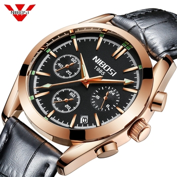 NIBOSI Men Watch Luxury Brand Sport Quartz Watch Man Military Leather Watch Waterproof Clock Male WristWatch Relogio Masculino