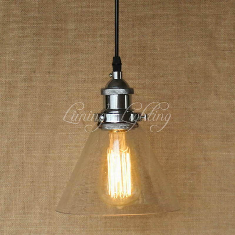 Modern Hanging Clear Glass Shade Pendant Lamp With Edison Light E27 Bulb Kitchen Lights And Cabinet Lights Fixtures Lighting mini pendant lights vintage industrial clear glass shade lighting fixtures modern kitchen island office hotel led ceiling lamp