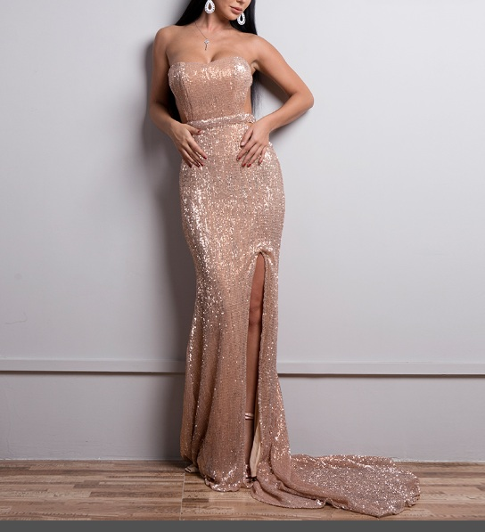 Yesexy 2019 Summer Sexy Women Maxi Dress Off Shoulder Sequin Backless High Split Strapless Elegant Party
