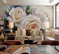 Personnalisé 3d photo peinture à l'huile fond d'écran blanc rose de grandes murales rétro romantique chambre salon canapé papier peint