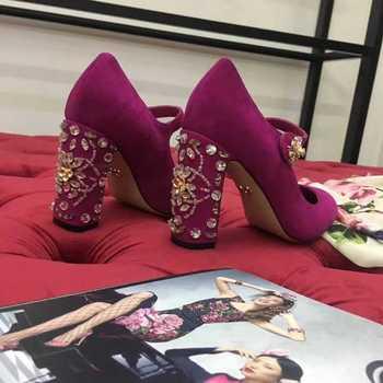 Luxury Rhinestone Jeweled Block Heel Pumps Women Ankle strap Beaded Embroidery Chunky High Heel Shoes Woman Wedding Heels