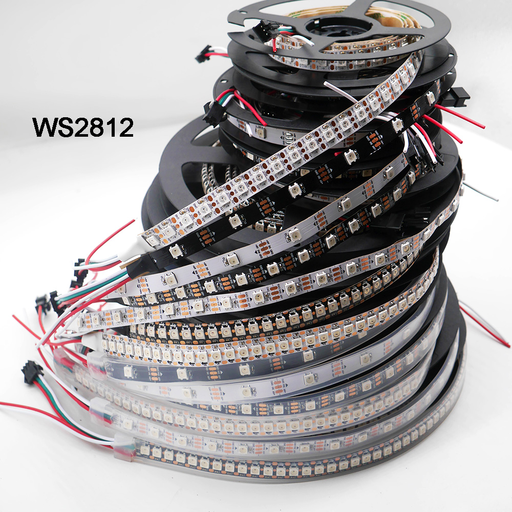 Bande de pixels led intelligente; WS2812B; 1 m/3 m/5 m 30/60/74/96/100/144 pixels/led/m; WS2812 IC; WS2812B/M, IP30/IP65/IP67, PCB noir/blanc, DC5V