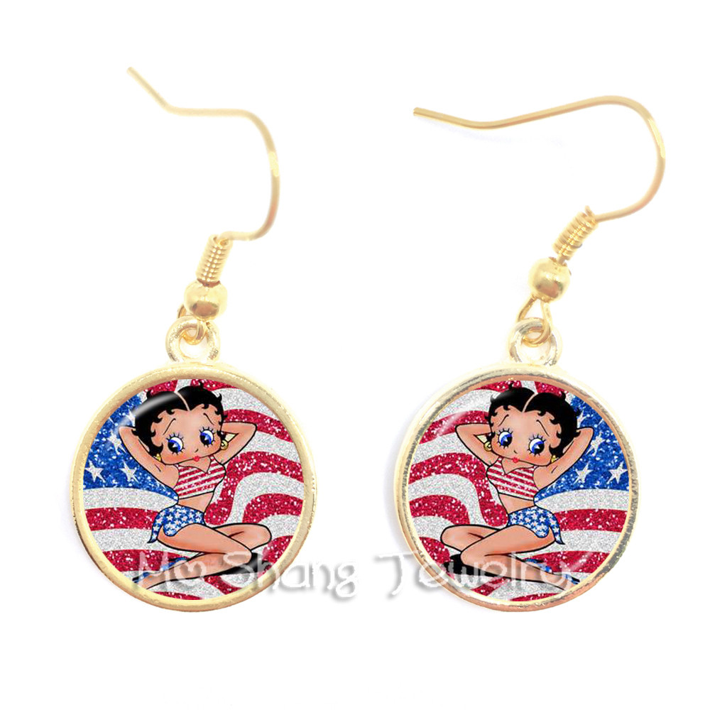 Jewelry & Accessories Betty Boop Earrings Harajuku Cute Cartoon 16mm Glass Cabochon Jewelry Fashion Silver Plated Stud Earrings Best Gifts For Girls